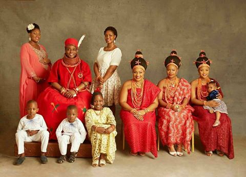 Oba Of Benin, Ewuare, His Wives And Children In Cute Family Photo