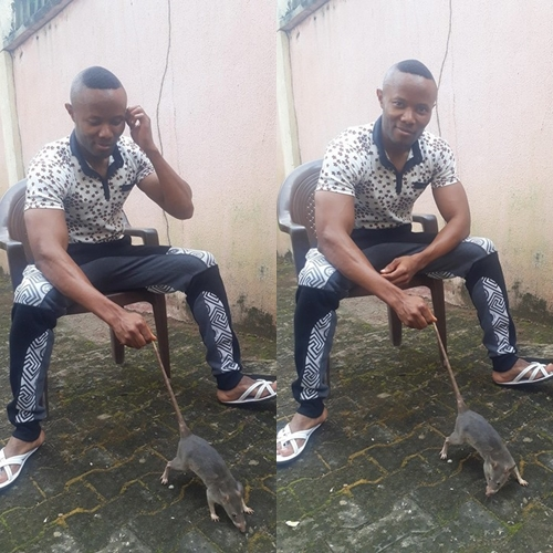 See How a Young Man Made Pepper Soup with Bush Rat After Hunting It Down (Photos)