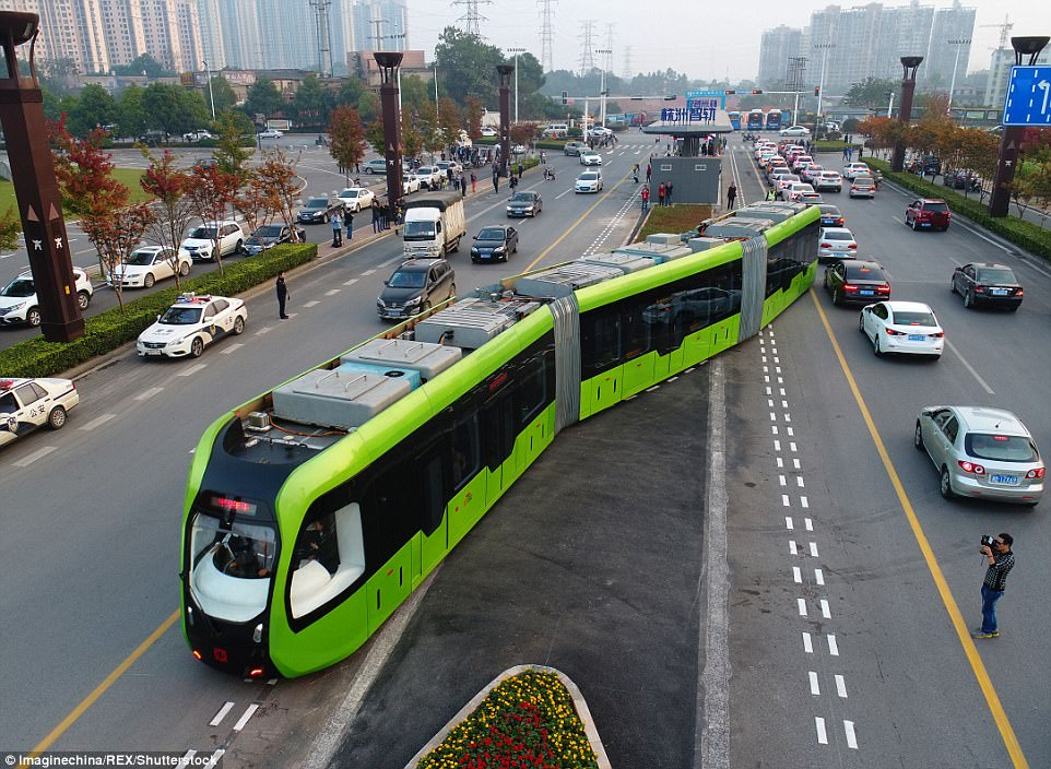 Photos: World's First Trackless 'Smart Train' Launched In China