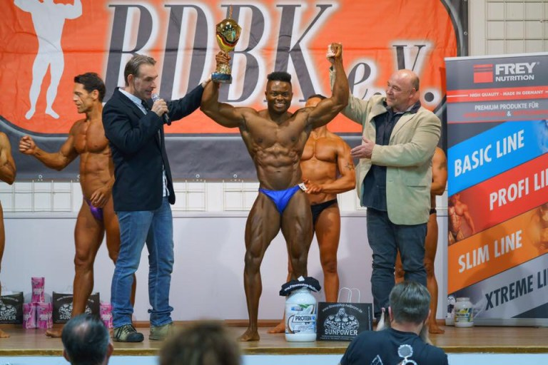Nigerian Man Wins the 2017 BDBK German National Bodybuilding Championship