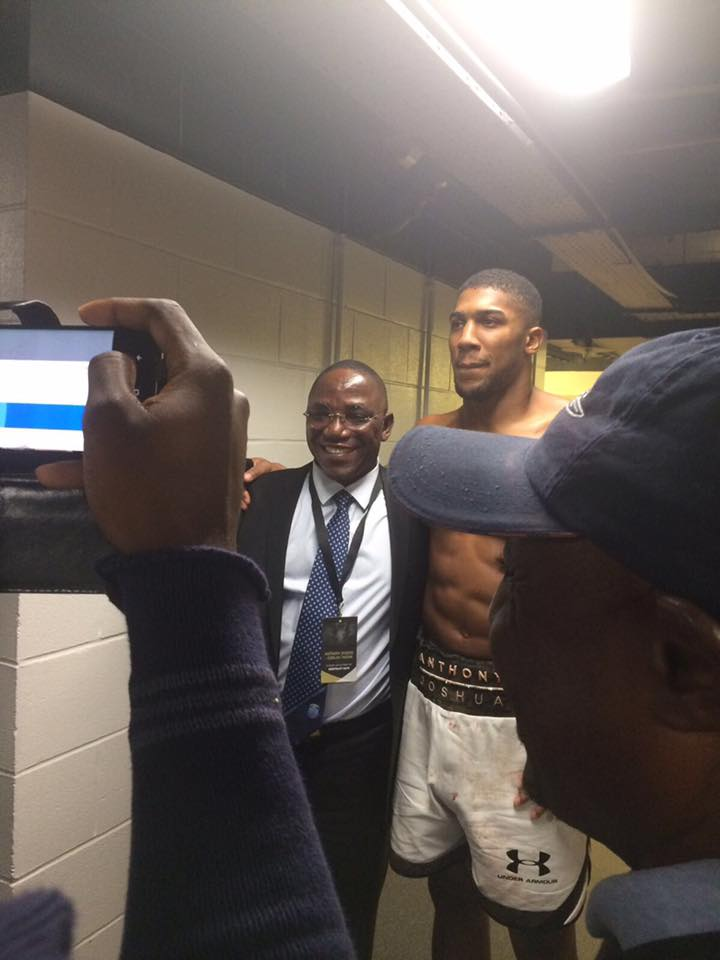 Minister of Sports, Dalung Spotted With Heavyweight Champion Anthony Joshua in UK After Fight With Takam (Photos)