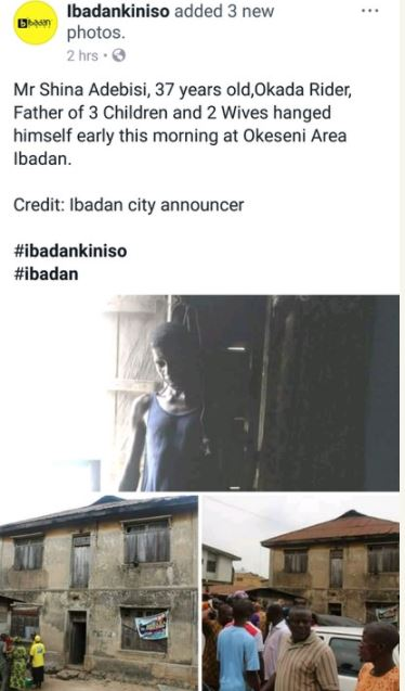 Shocking: Father Of Three Commits Suicide By Hanging In Ibadan, Oyo (Graphic Photos)