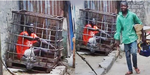 {filename}-Checkout The 'cage Treatment' Meted Out To Criminals In Warri, Delta State (photos)
