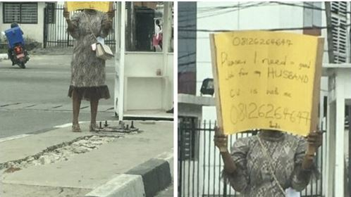 Why I Carried Placard To Help My Husband Get A Job - Woman Whose Photo Went Viral Finally Explains