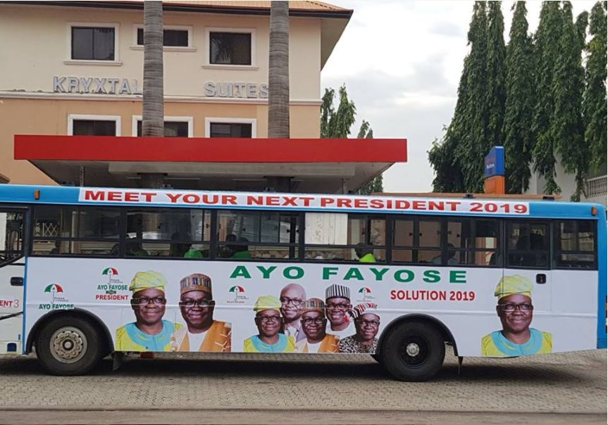 Ayo Fayose Presidential Campaign Buses Spotted In Abuja (Photos)