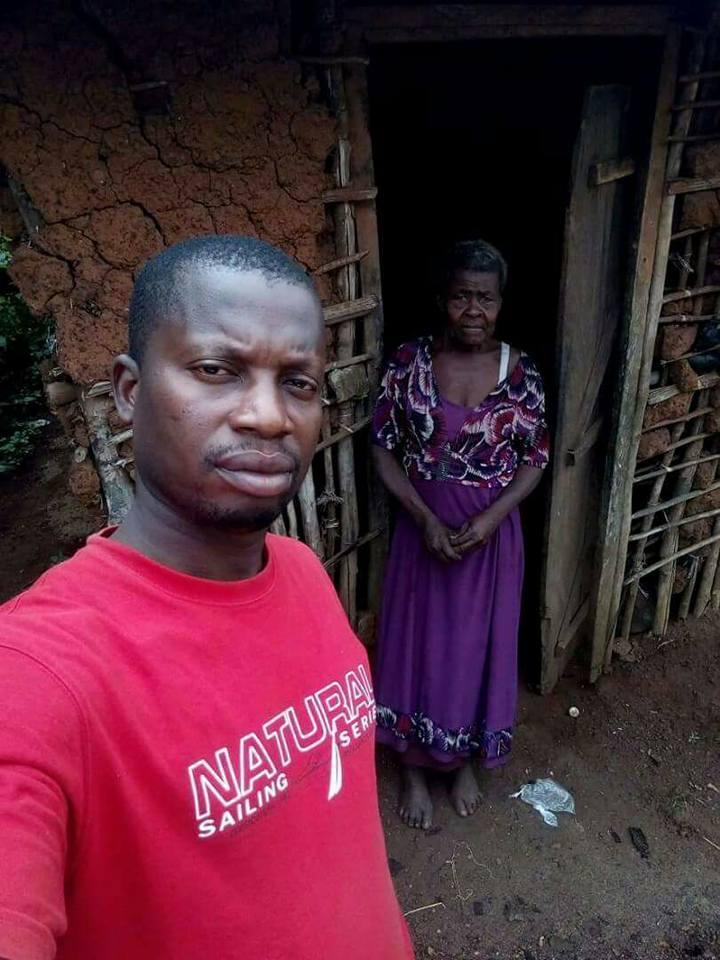 Tears of Joy as Nigerian Man Pulls Down Mud House and Builds Befitting Bungalow for an Elderly Widow in Abia State (Photos)