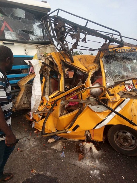 Woman Praises God After Escaping This Horrible Road Accident Involving Keke And Truck (Photos)