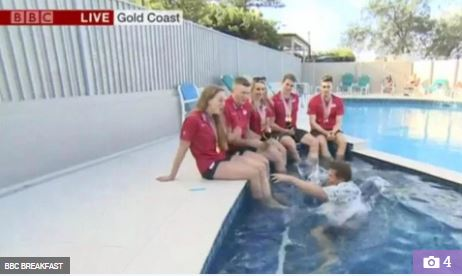 BBC Presenter Falls Inside Pool Live On Air During Interview With Athletes (Video)