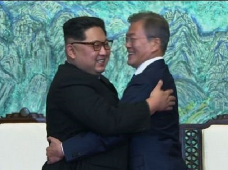 North And South Korean Leaders, Kim And Moon Embrace After Historic Korean Summit