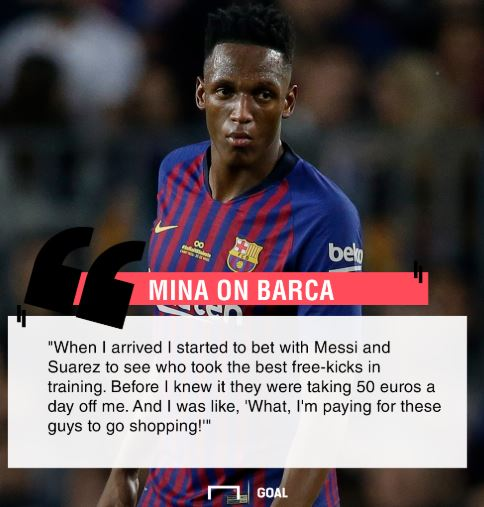 Yerry Mina Reveals What Happened After Making Bets With Messi And Suarez Over Free Kicks