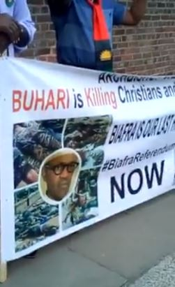 IPOB Members Storm Abuja House In London To Protest Against Buhari (Photos)
