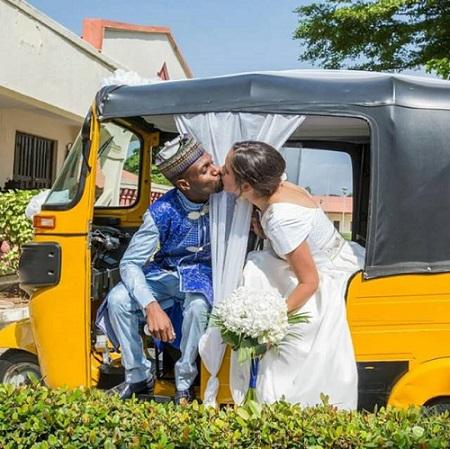 Nigerian Man And His Oyinbo Bride Wed With Keke NAPEP (Photos)