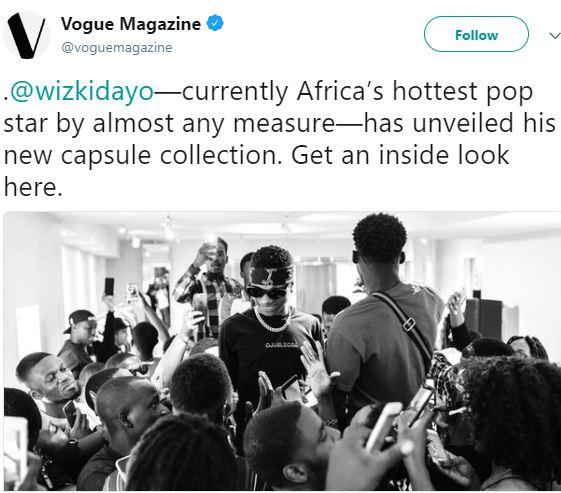 Vogue Magazine Declares Wizkid The Hottest Pop Star In Africa