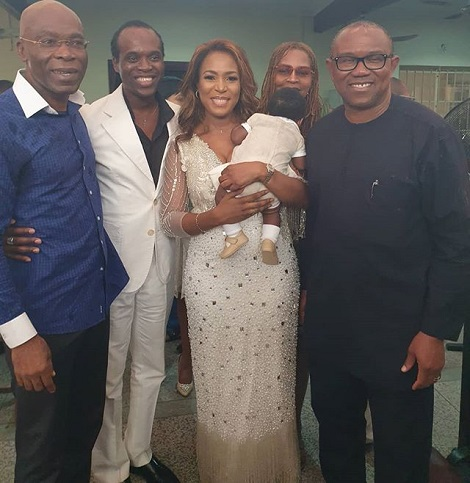 Peter Obi, Comedian AY, Durotoye Attend Linda Ikeji's Child Dedication Ceremony