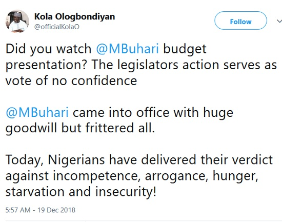 Lawmakers No Longer Have Confidence In Buhari - Ologbondiyan Reacts To 'Booing'