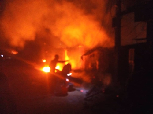 Image result for house on fire in Abule egba today