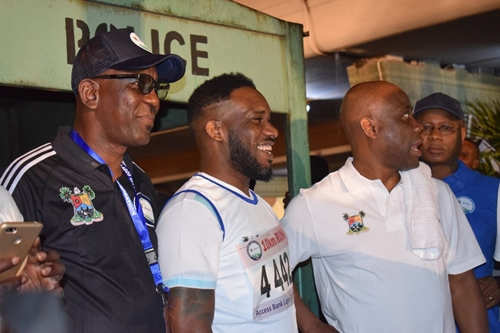 Ex Super Star, Jay Jay Okocha Spotted At The Lagos Marathon, Set To Compete (Pictures)