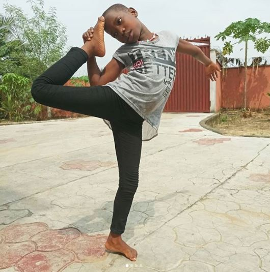 So Flexible: Checkout What Young Comedian Emmanuela Was Spotted Doing In Her Compound (Photos)