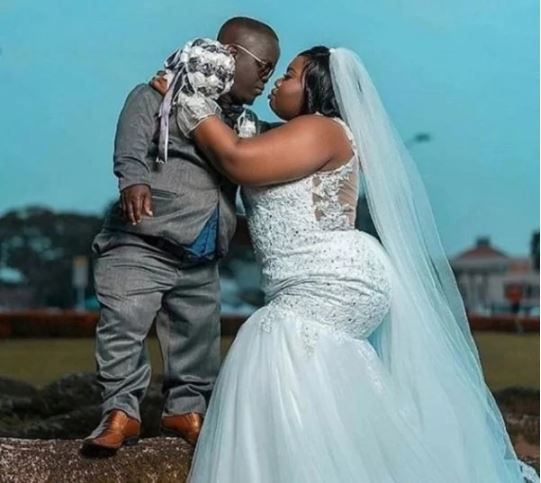Beautiful Bride Marries Dwarf Husband, Shares Lovely Wedding Photo
