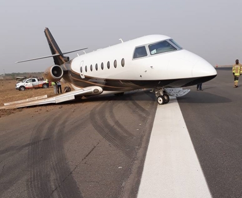 See Photos Of The Private Jet Which Skidded Off The Runway Causing The Shutdown Of Abuja Airport