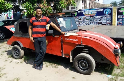 Young Man Shows-off His Newly Invented made-in-Nigeria Car (Photos)