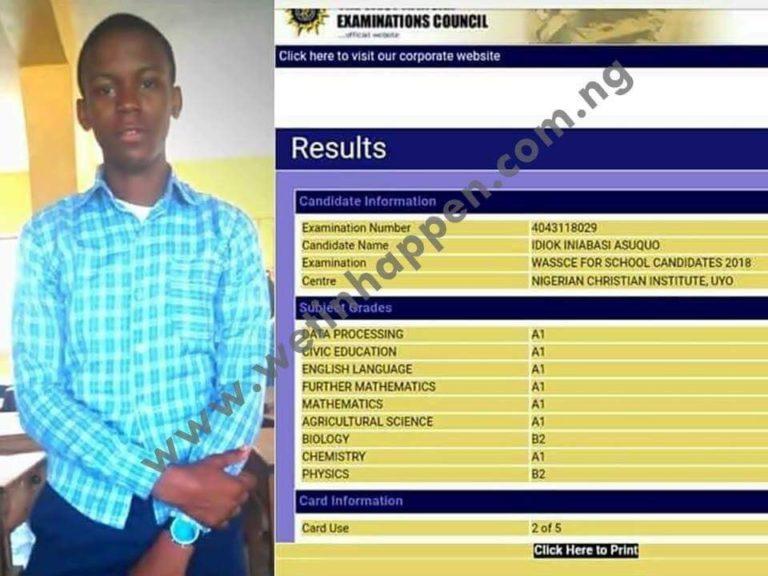 Brilliant Student Smashes WAEC Result (Photo)
