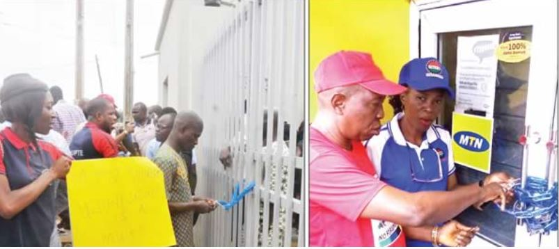 The Nigeria Labour Congress has disrupted activities of MTN Nigeria in protest against non-unionisation of its workers.