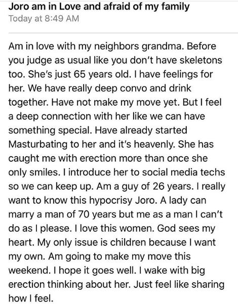 How I Fell In Love With My Neighbour's Grandmother - 26-year Old Recounts