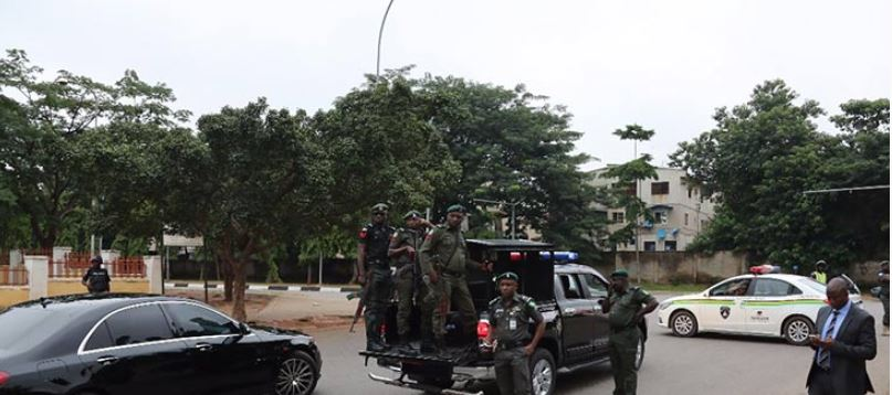 Image result for police lay siege to Saraki's Ekweremadu's home