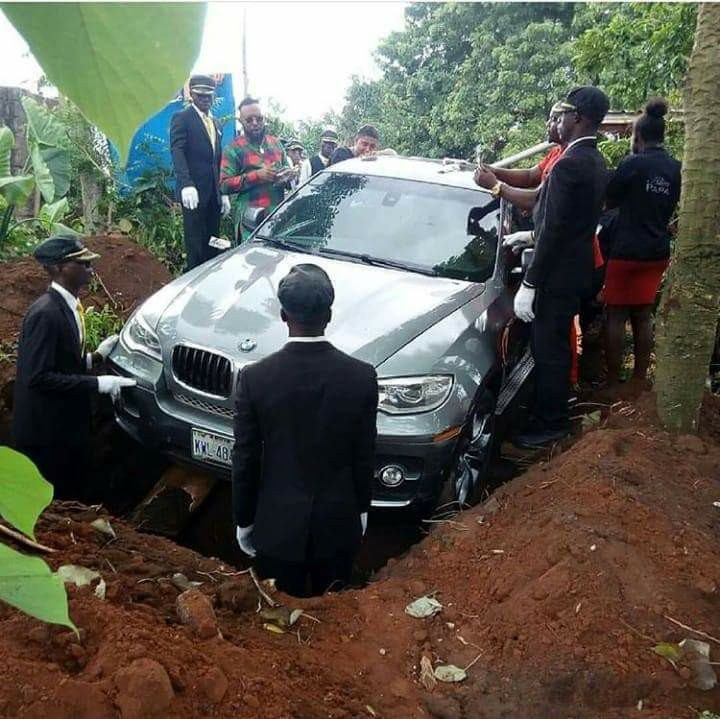 Nigerian Man Reveals Why He Buried His Father In Brand New BMW Jeep