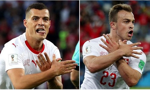 World Cup: Switzerland Players Under Investigation For Celebrating Their Goals Like This (Photos)