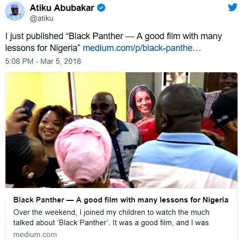 Black Panther: A Good Film With Many Lessons For Nigeria - Atiku Abubakar