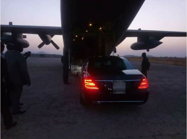 President Buhari's Car Airlifted To Taraba As He Visits The State (Photos)