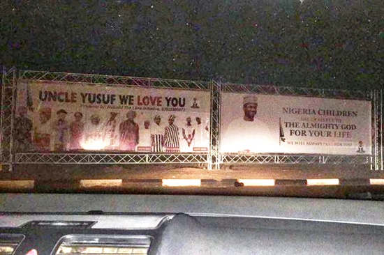 Nigerians React Over Billboards Erected To Welcome Yusuf Buhari After Treatment From Abroad (Photos)