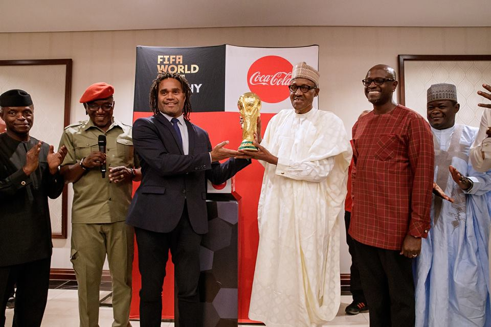 President Buhari Receives The Original FIFA World Cup Trophy In Abuja (Photos)