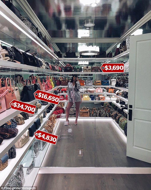 Checkout The Inside Of Kylie Jenner's $1million Designer Handbag Closet (Photos)