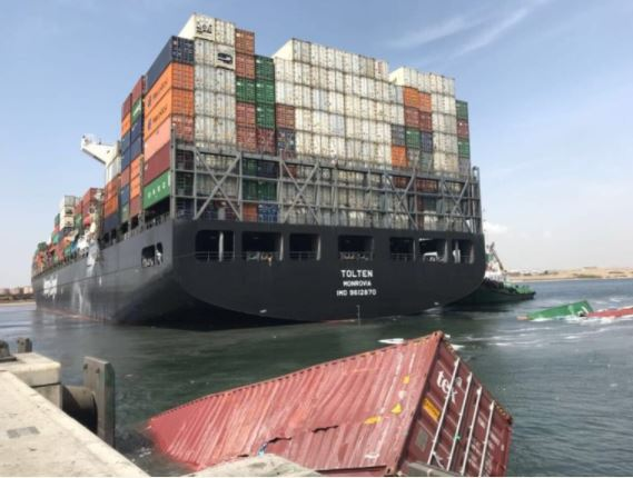 See The Shocking Moment Two Huge Ships Collided, Sending 21 Containers Into Sea (Video)