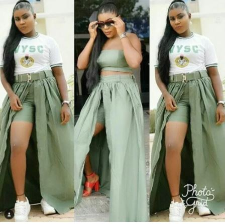 Female NYSC Corper Turns Her Khaki Trouser Into 'Designer Skirt'