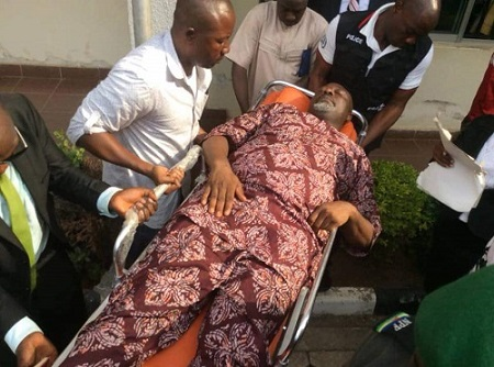Photos: Senator Dino Melaye Arrives Lokoja Court In An Ambulance On Thursday