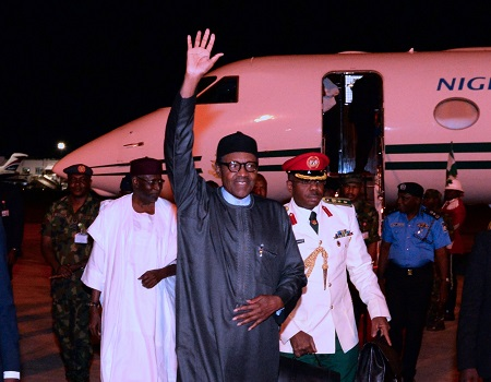 Photos Of President Buhari Arriving Nigeria After Visiting Trump