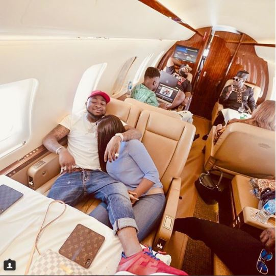 Loved-Up Photo Of Davido And Chioma Inside A Private Jet As They Head To Sierra Leone