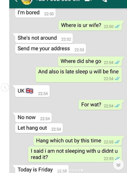 Lewd WhatsApp chats between a married Man and a lady