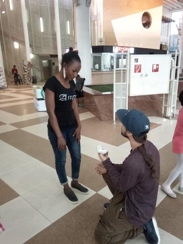 American Man Proposes To Nigerian Girlfriend After Flying All The Way From US