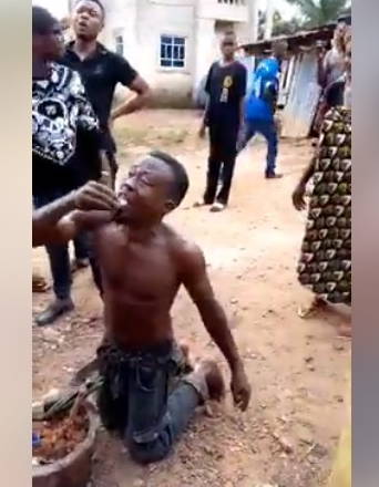 Young Man Caught While Trying To Bury 'Juju' In Uncompleted Building In Imo State (Photos)