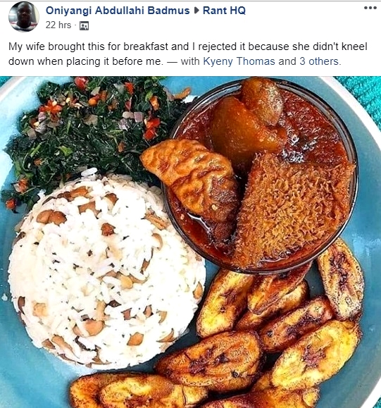 Image result for HILARIOUS! Man Rejected Breakfast Because Wife Refused To Kneel Down To Serve Him
