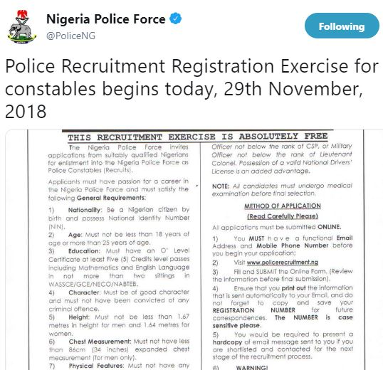 Police Recruitment For Constables Commences