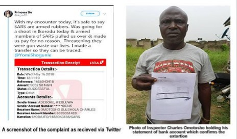 Photo Of Corrupt FSARS Officer Sacked For Collecting Bribe In Lagos