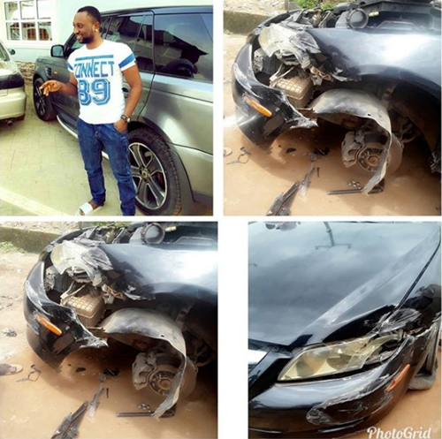Nollywood actor austin emmanuel survives accident scare for Austin rising fast motor cars