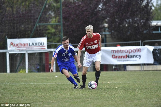 Arsene Wenger has been spotted playing an interesting charity football match.