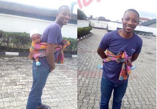 Man Causes Scene After Backing His Baby To A Bank In Port-Harcourt (Photos)